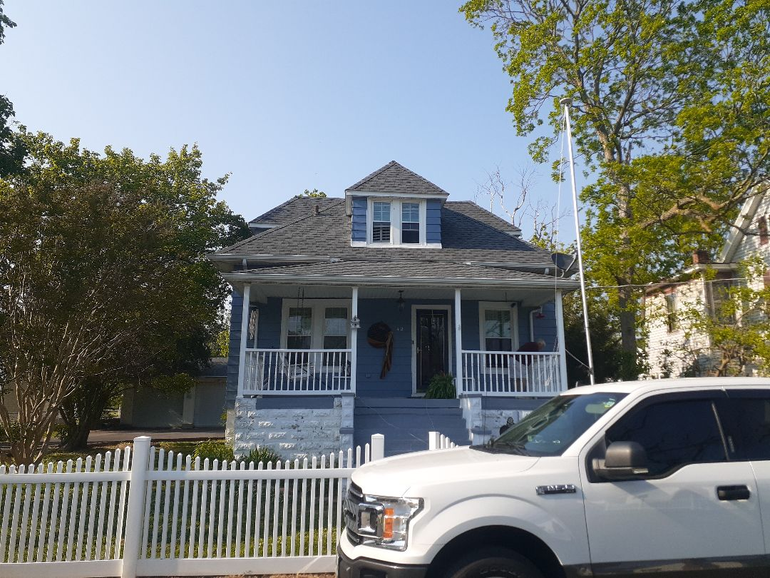 Crisfield, MD - New roof installed using GAF timberline HDZ pewter grey shingles
