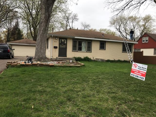 Minneapolis, MN - This homeowner requested a free roof inspection. We did the roof inspection and found sufficient hail damage on the roof. The Safe-Co Insurance rep also found damage. We helped the homeowner file a claim with Safe-Co. We met with the insurance adjuster and he agreed there was enough damage to make a claim. Safe-Co paid for a full roof replacement. This homeowner chose Owns Corning Duration shingles, Brownwood in color. We replaced this roof on May 11th, 2017.