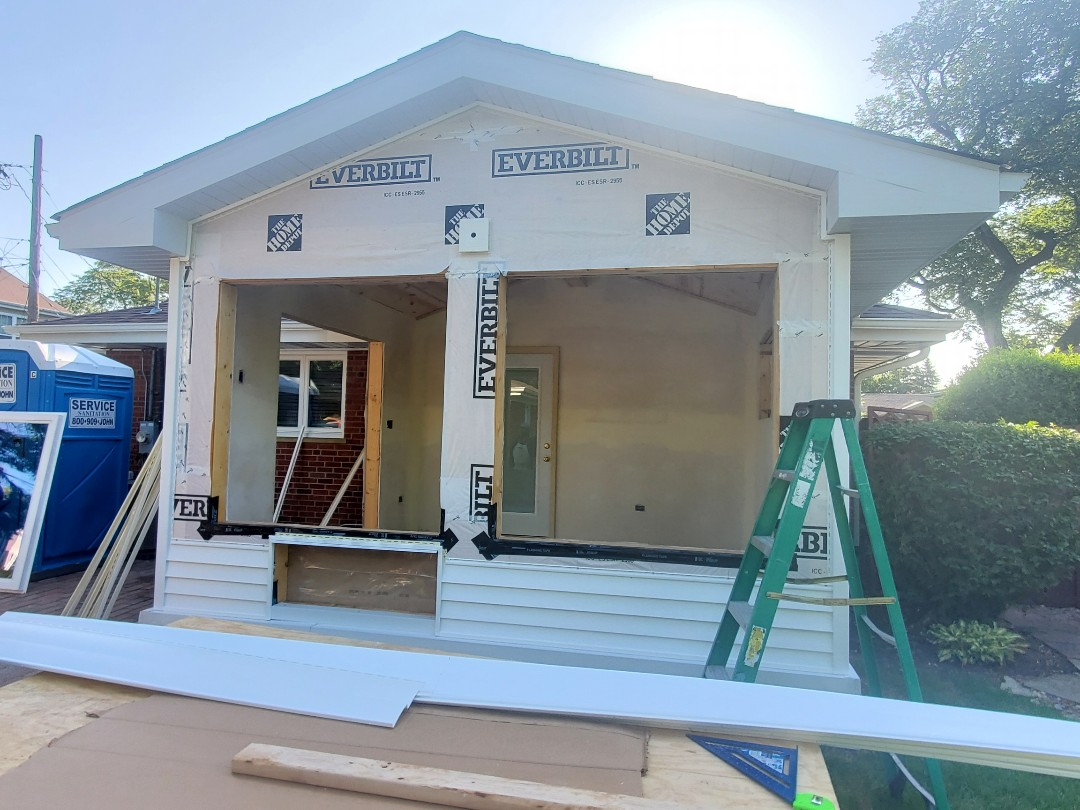 Mount Prospect, IL - Installing windows and door on a new addition in Mount Prospect.