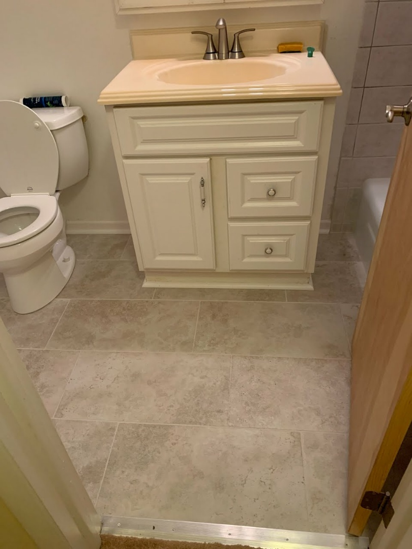Arlington Heights, IL - Completed bathroom flooring in prospect heights.