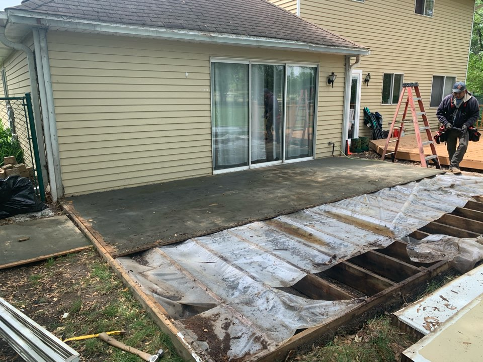 Roselle, IL - Old sunroom gone. New sunroom in Roselle coming soon.