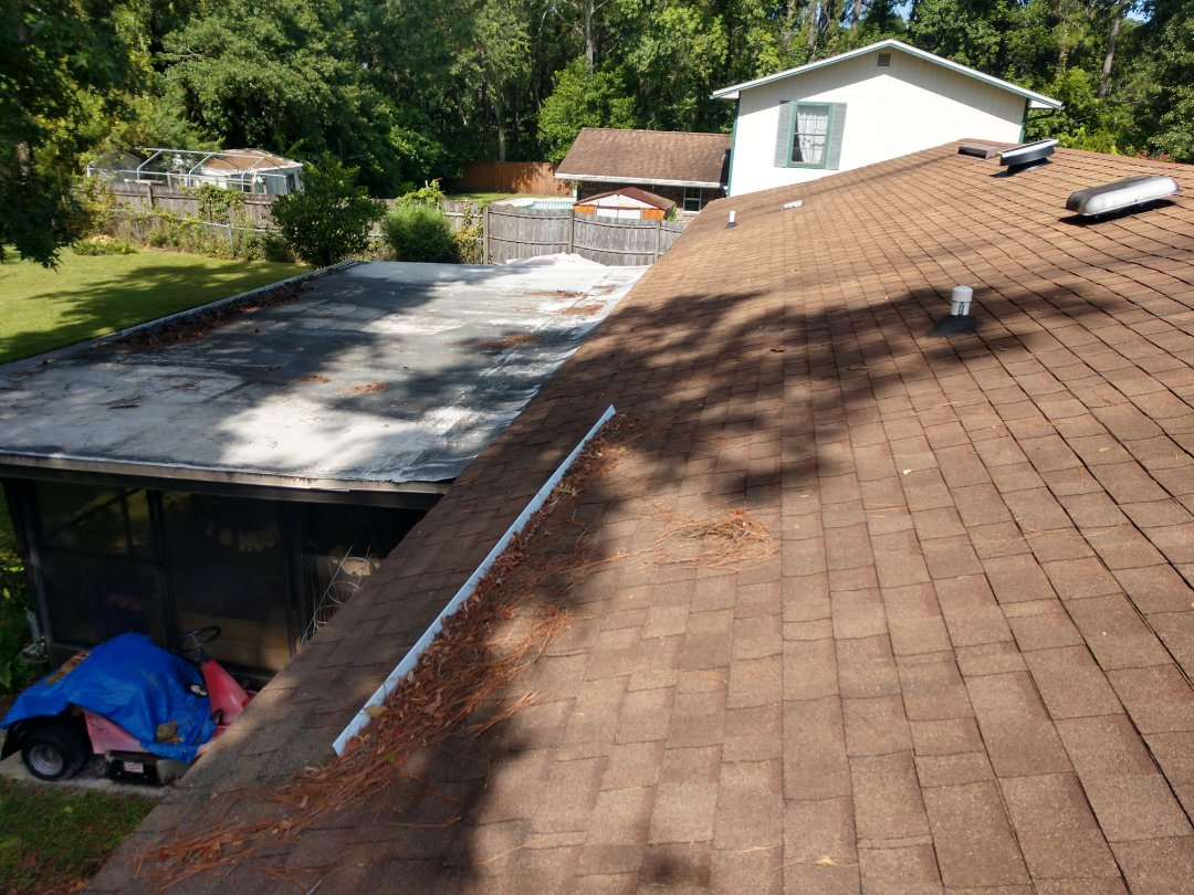 """St. Augustine, FL - """"Water diverters"""" on your roof dam water and debris and will eventually force water into your home, rotting out the plywood decking and insulation in your roof system. Stonebridge Roofing and waterproofing recommends to install a gutter on the eave/fascia."""