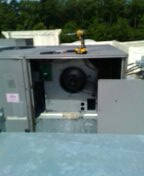 Changing filters and belts on 10 ton carrier package unit