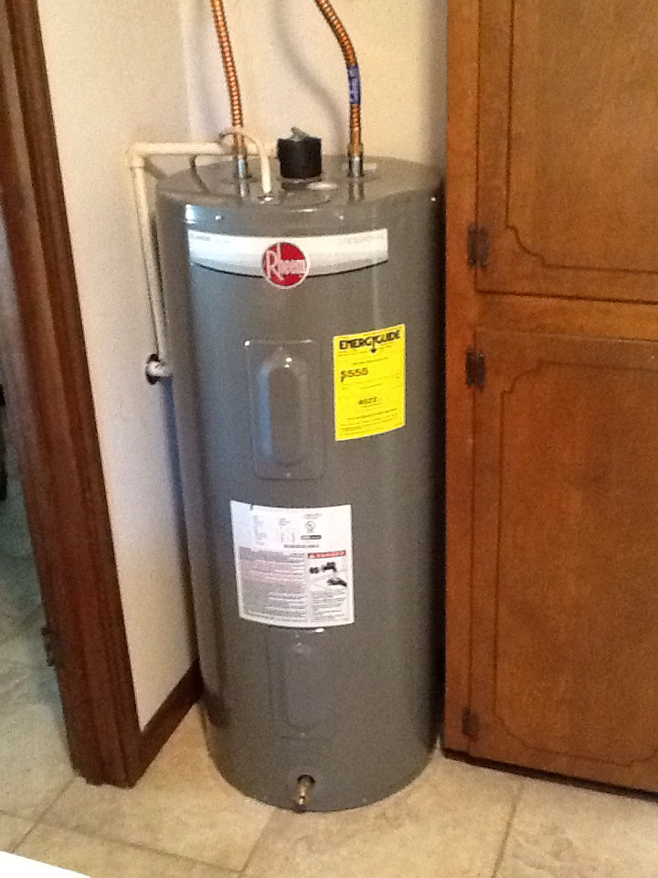 Delcambre, LA - A New Iberia plumber installed a new water heater and t&p line to outside of house