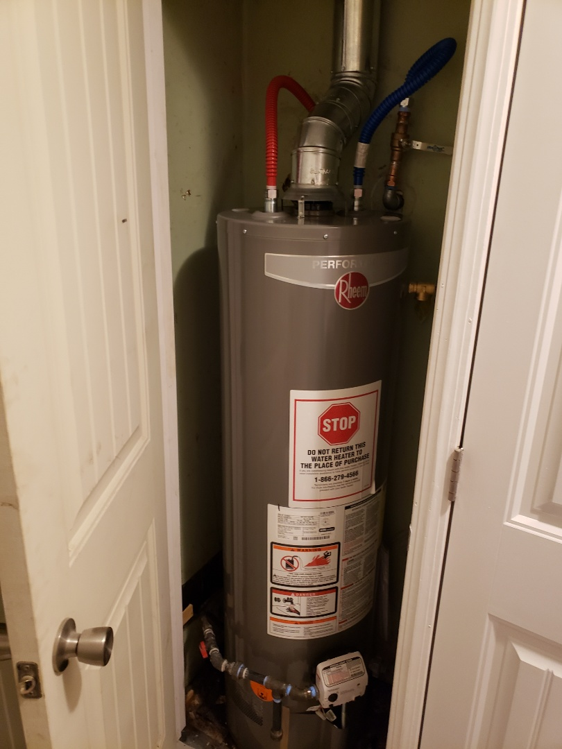 Finished installing a new water heater