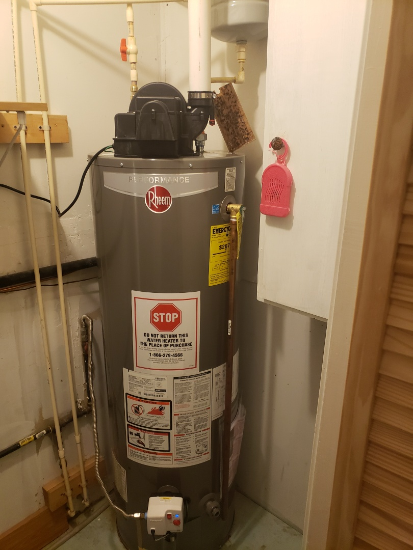 Finished installing a power vent water heater