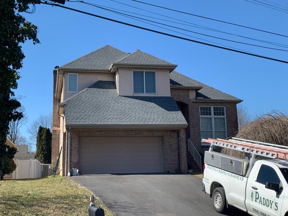 Newark, DE - Roof Replacement - GAF HDZ 50 year lifetime Pewter Gray shingles with custom bent metal chimney counter flashing