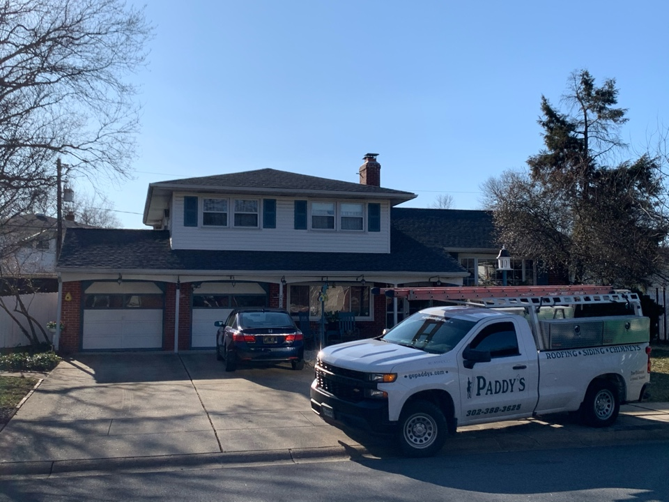 Wilmington, DE - Roof Replacement - GAF Timberline HDZ 50 year lifetime Pewter Gray shingles with custom bent chimney counter flashing metal