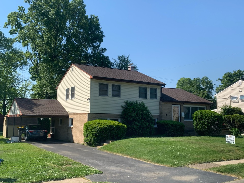 Claymont, DE - Roof Replacement - GAF Timberline HDZ 50 year lifetime Hickory shingles with custom bent chimney counter flashing and painted pipe/vents to match pipes roof