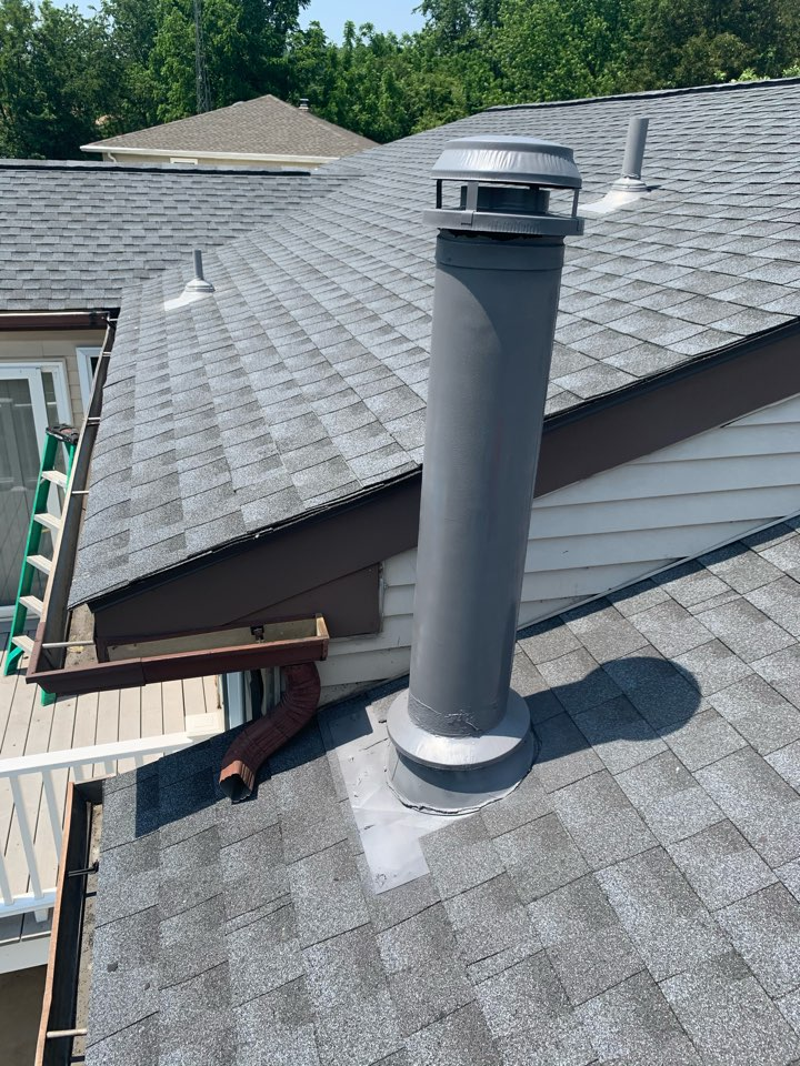 Newark, DE - Roof replacement - GAF Timberline HDZ 50 year lifetime Pewter Gray shingles with painted pipes/vents to match the roof