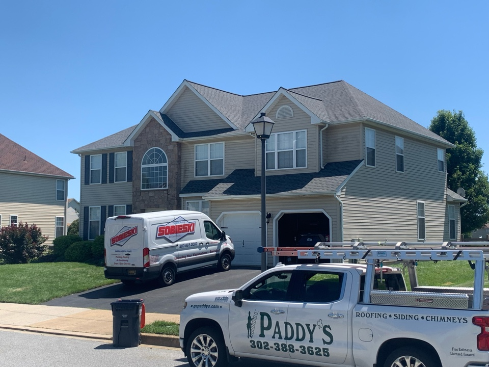 Middletown, DE - Roof Replacement - GAF Timberline HDZ 50 year lifetime Pewter Gray shingles with painted pipes/vents to match the roof