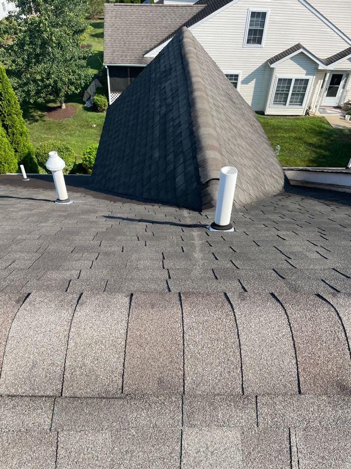 Bear, DE - Roof pip collar repair from roof leak. Replace gutters