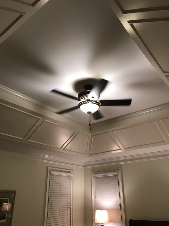 Tech installed multiple ceiling fans and recessed light