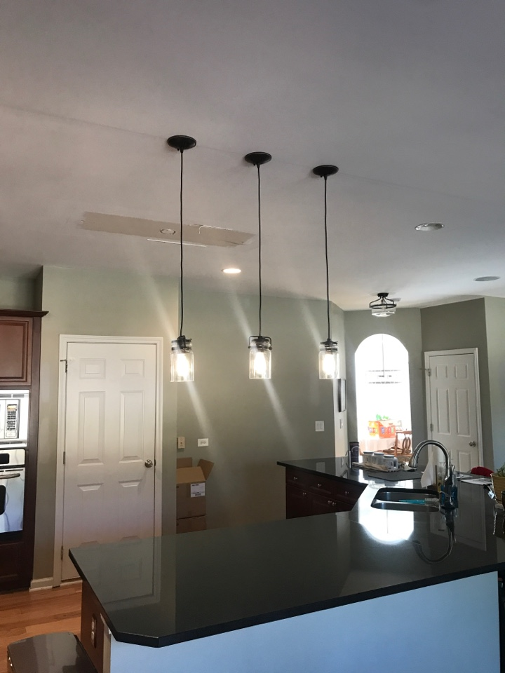 Cumming, GA - Installation of chandelier, pendant lights and master bathroom exhaust fan
