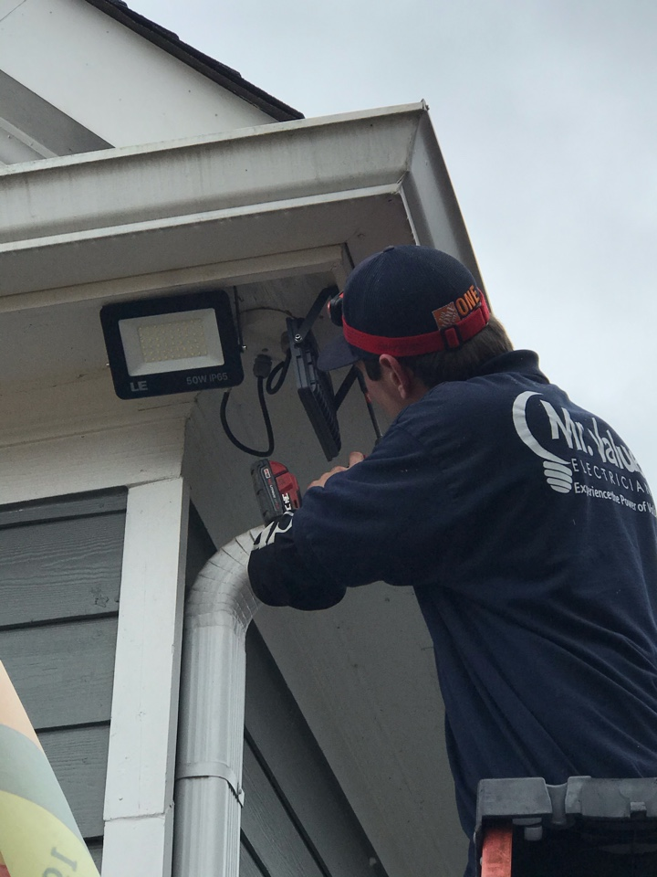Big Canoe, GA - Installation of LED flood lights and exterior camera wiring and mounting