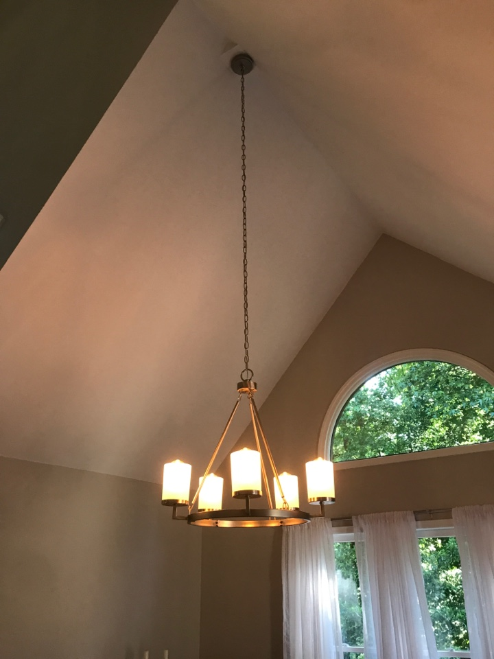 Roswell, GA - Tech installed new wiring for multiple lights and dimmers. Flood lights, can lights, chandeliers and track lights