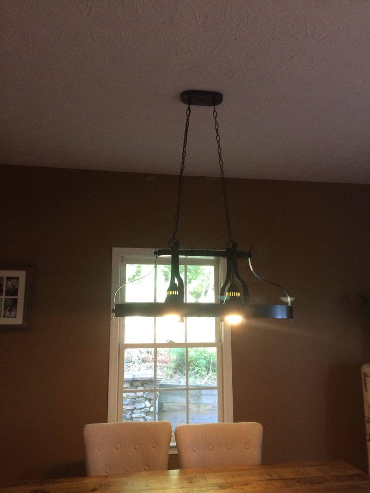 Dahlonega, GA - Installing wiring and bracing for new light over kitchen table.