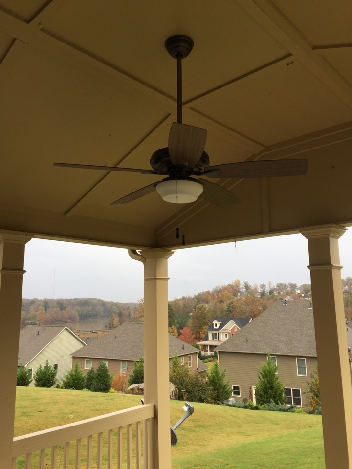 Outdoor fan did not work.  Found remote was bad and fan was not an outdoor rated fan.  Installed wet rated Hampton bay outdoor fan on back porch.