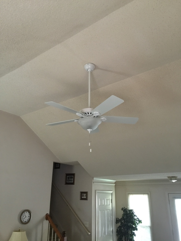 Smyrna, GA - Replace ceiling fan on high ceiling in living room.  Replace ceiling fan in master bedroom.  Install fan rated brace box.  Replace smoke detector with carbon smoke combo. Bins talk grounding system with 2 ground rods for main electrical system.