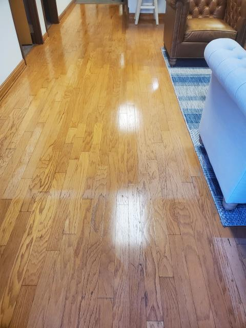 Office clean hardwood floors vacuum sweep and mop at a weekly commercial clean account in Greensboro we are highly recommended in the whole area