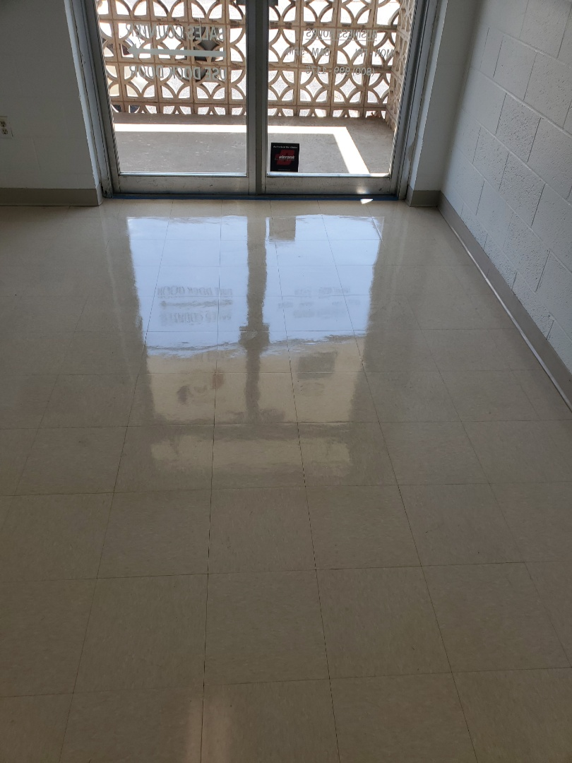 """Strip and wax at a small commercial building client is very happy says the floors are """" phenomenal """" that's the true clean way. #janitorial #dayporter #clean #small #topbestgoogle #Greensboro #Highpoint #google #reviews #five-star #commercial #tcecommercialcleaning"""