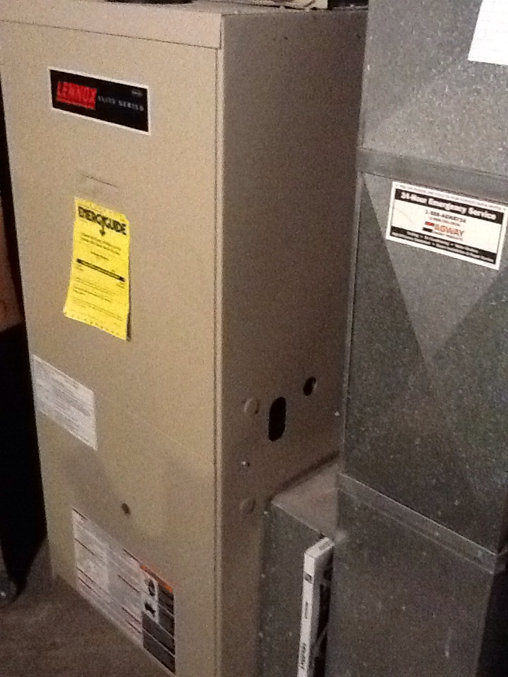 Baden, PA - Agway flat rate no heat call on a Lennox furnace. Ordering blower motor, wheel & capacitor.