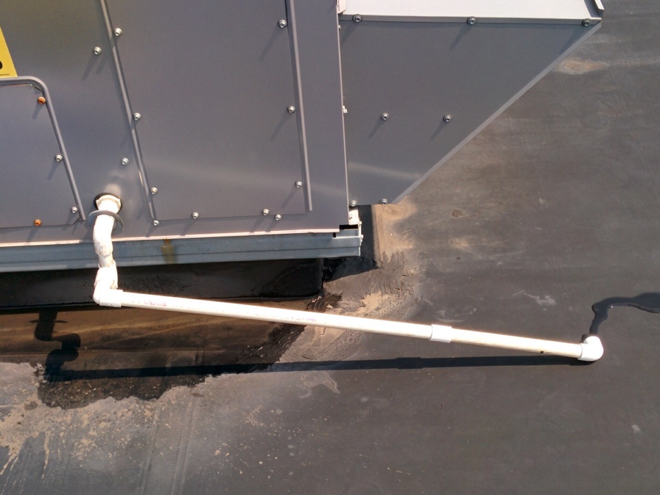 Warrendale, PA - Added a temporary drain extension to a rooftop unit for one of our corporate customers, until a rubber roofing repair can be made.