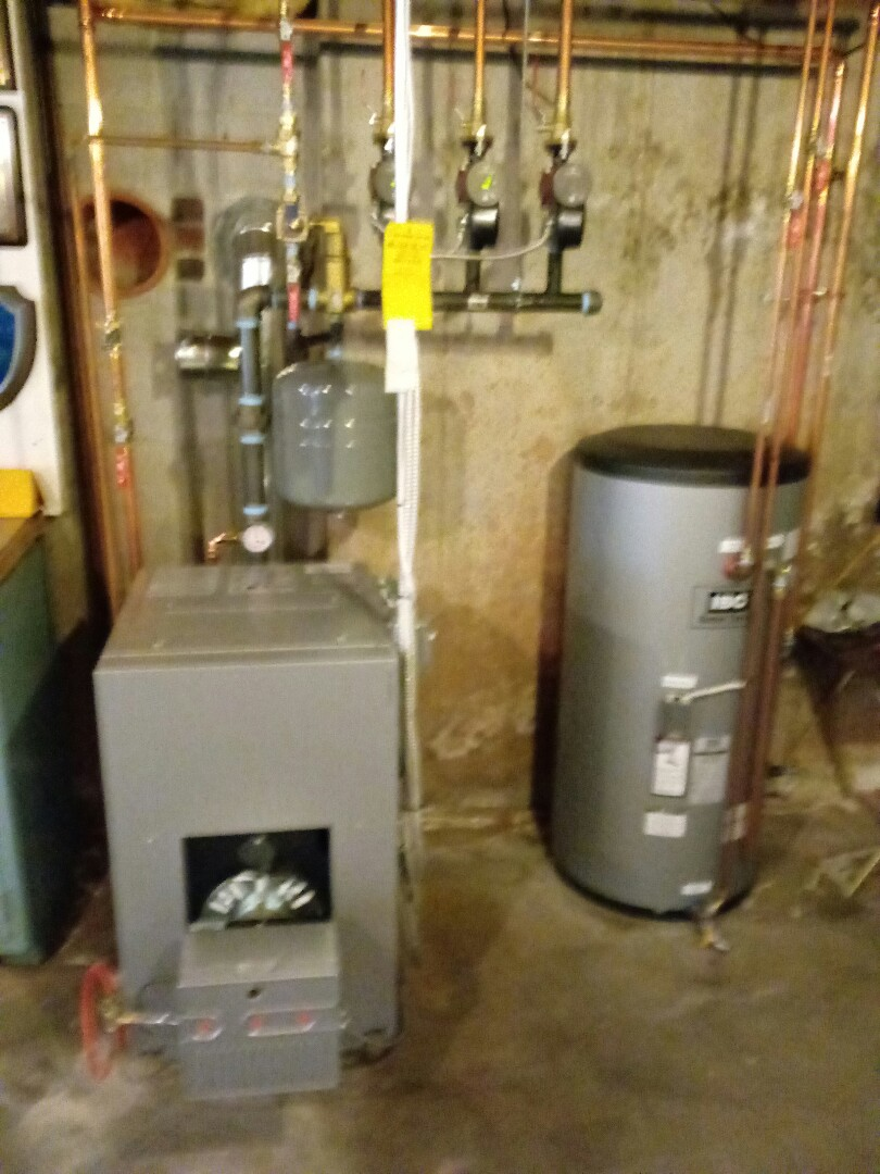 Viessmann hot water boiler with a Riello oil burner and 30 gal. indirect hot water tank. This a really nice install. The customer love this boiler.