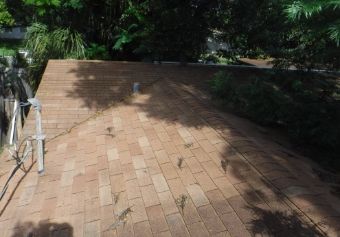 Melbourne, FL - Apparent hail damage was affecting the value of the home, so we are restoring the client's roof with new Shakewood GAF Timberline® HD® Shingles with StainGuard Protection.