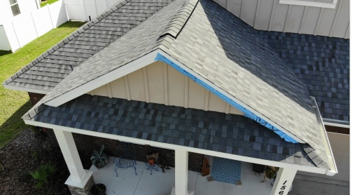 Panama City Beach, FL - The client's roof was at the end of its life span, so we are replacing the old weathered shingles with new Nantucket Morning Timberline HD Shingles as well as a Stormguard layer, and Felt Buster to protect from future leaks.