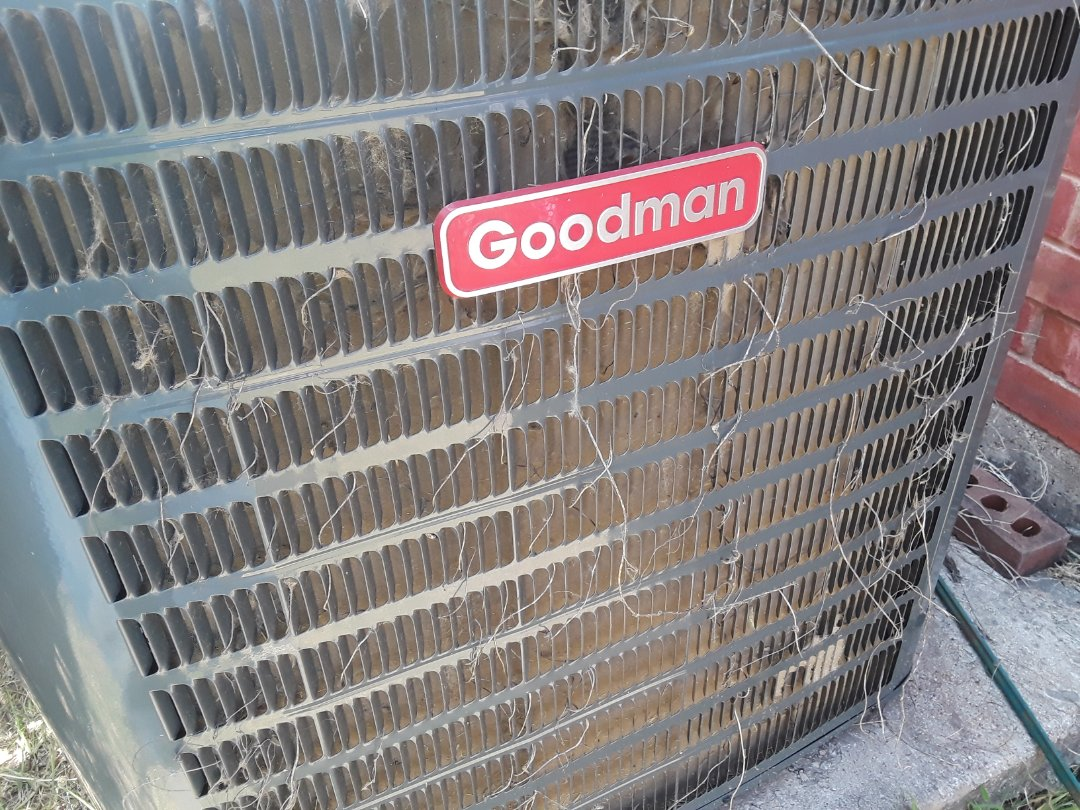 Hurst, TX - Goodman Air Conditioner was not coming on.  Replaced Capacitor and cleaned Condenser Coil.