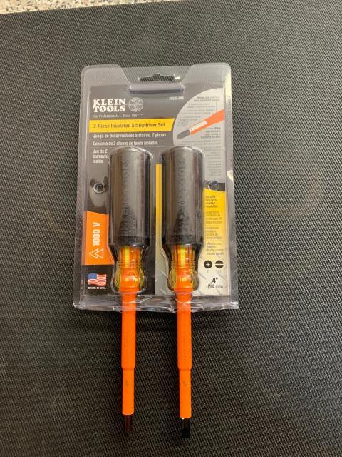 Ocala, FL - The screwdrivers in Klein Tools' 2-Piece Insulated Screwdriver set have two layers of insulation to protect from electric shock. A thick, exceptionally tough, high-dielectric white inner coating is bonded to the tool, while a bright orange outer coating is flame and impact resistant. Being sent out to Ocala, FL.