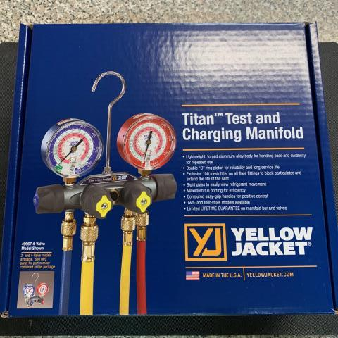 La Mirada, CA - This Yellow Jacket Titan Manifold with a forged aluminum alloy body makes this unit lightweight for handling ease with the durability and reliability required for repeated use. Includes valve hoses to make to make controlling of refrigerant flow easy. On its way to La Mirada, CA