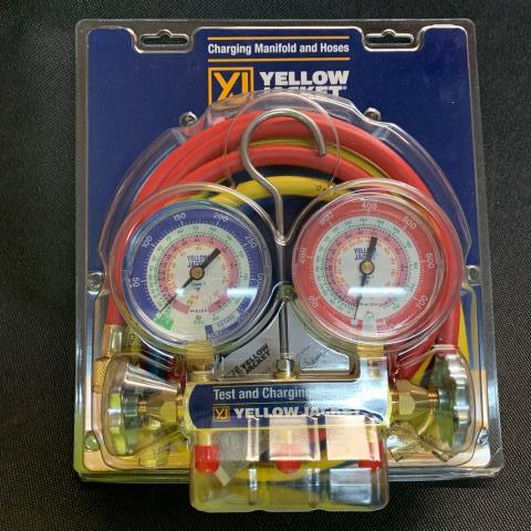 Saragosa, TX - One of the workhorses of the Yellow Jacket line. The series 41 manifold features easy to read 3-1/8″ color-coded gauges in rugged steel cases with polycarbonate crystals. On its way to Saragosa, TX.