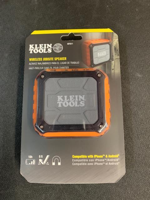 Cloquet, MN - The Klein Tools AEPJS1 is a powered speaker that provides 5 watts of high-quality sound for smart phones, tablets, computers and other audio devices via a wireless Bluetooth* connection or wired auxiliary input. It is on its way to Cloquet, MN.