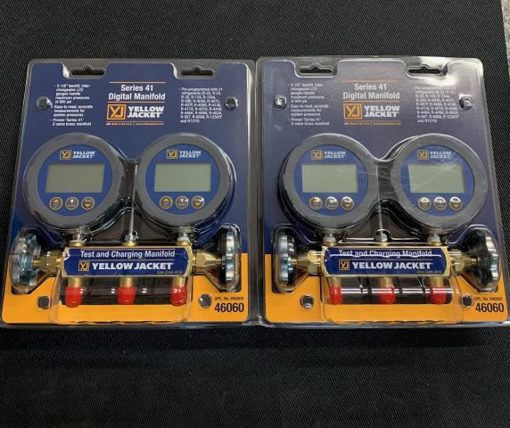 "West Hempstead, NY - he YELLOW JACKET® Series 41 Digital Manifold combines the advantages of digital technology with the proven Series 41 2-valve brass manifold. The 3-1/8"" backlit LCD gauges provide easy-to-read accurate measurements for system pressures. Being sent to West Hempstead, NY."