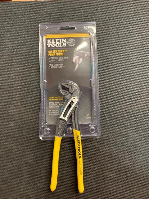 Orangevale, CA - Get a better grip on the job at hand with Klein Tools Klaw™ Pump Pliers. The uniquely designed jaw provides multiple points of contact for maximum torque. Specially hardened teeth cover the inside of the jaw for excellent gripping power. Grips are extended for added comfort. Being shipped to Orangevale, CA.