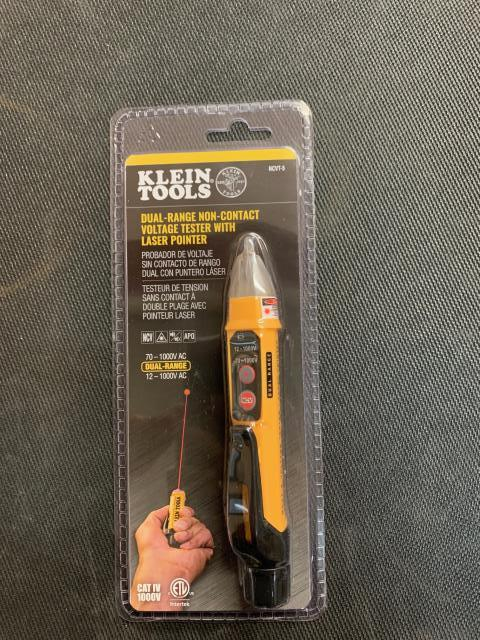 Elkridge, MD - The Klein Tools NCVT-5 is a dual-range non-contact voltage tester (NCVT) with integrated laser pointer. The tester can be set to detect voltage from 70 to 1000V AC (Mode 1) or from 12 to 1000V AC (Mode 2). Being sent out to Elkridge, MD.