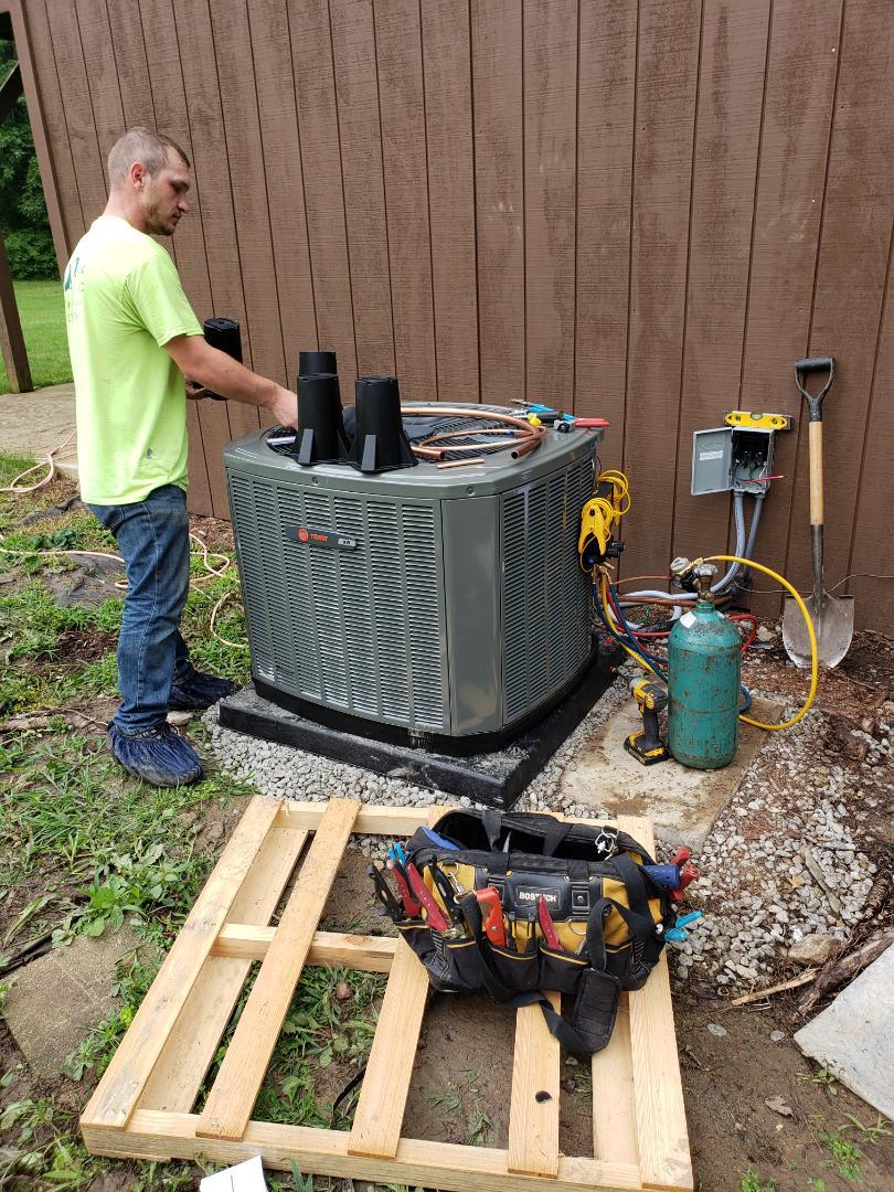 Pataskala, OH - Installing Trane heat pump system near Pataskala.