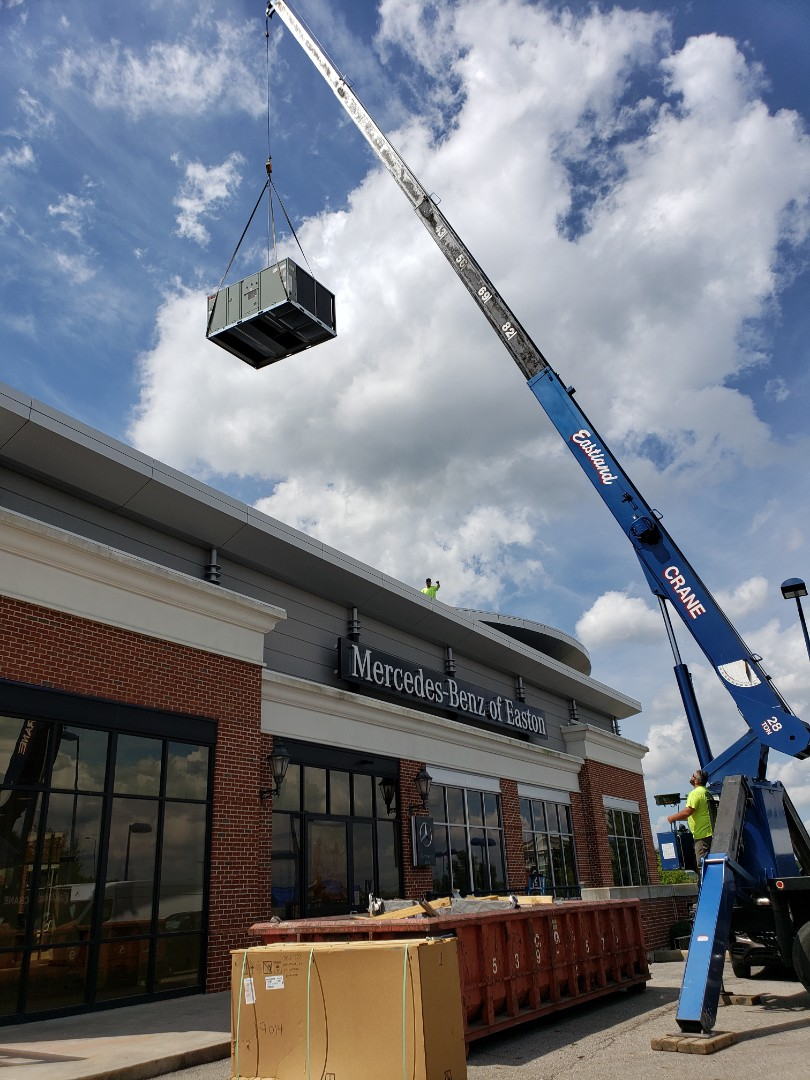 Columbus, OH - Installing Trane RTU at Mercedes-Benz of Easton.