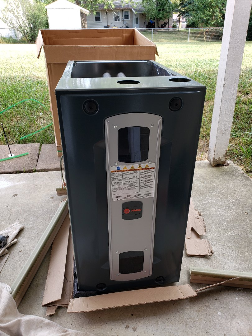 Columbus, OH - Installing Trane S9V2 gas furnace and Trane XR13 air conditioner.