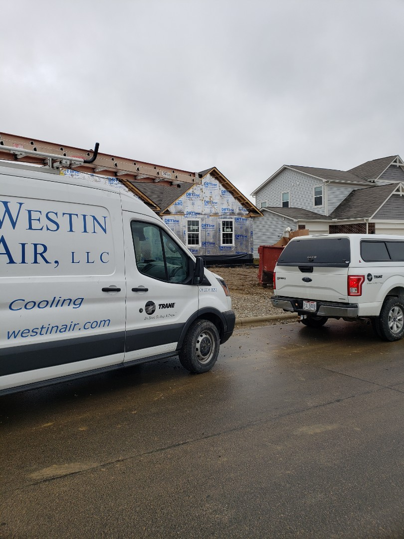 Delaware, OH - Installing HVAC in new construction Fischer home near Delaware.