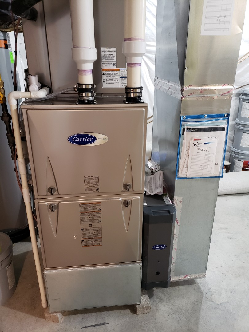 Lewis Center, OH - Carrier gas furnace and AC installation in a 3 Pillar new construction home in The Meadows of Lewis Center.