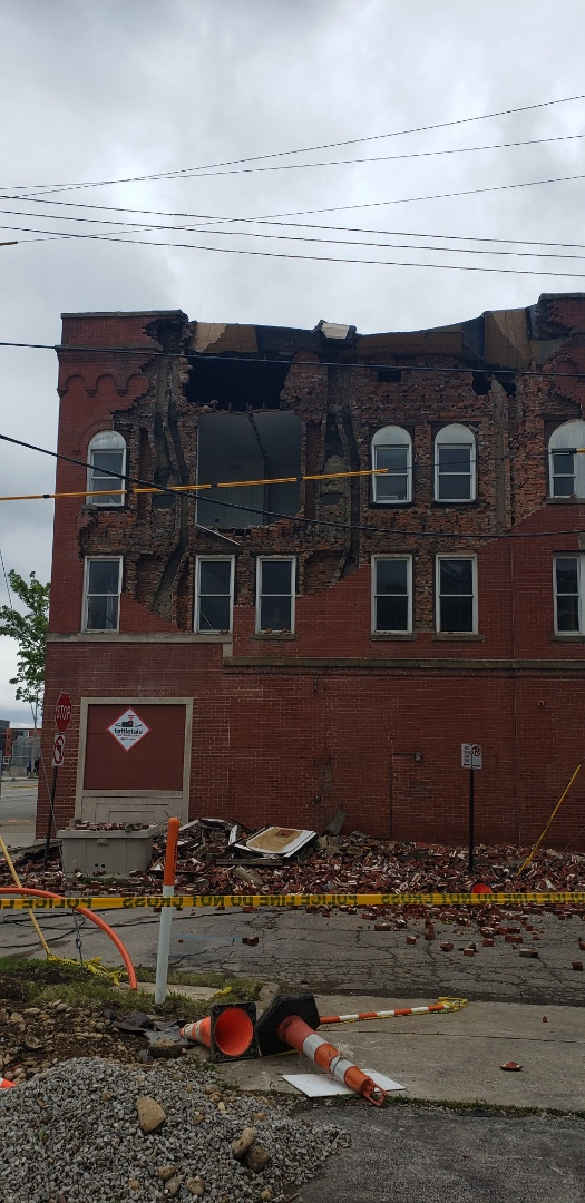New Albany, OH - Strong winds damage a historical building that we were installing HVAC in