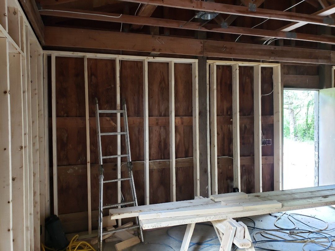 Mitsubishi ductless system installation in barn.