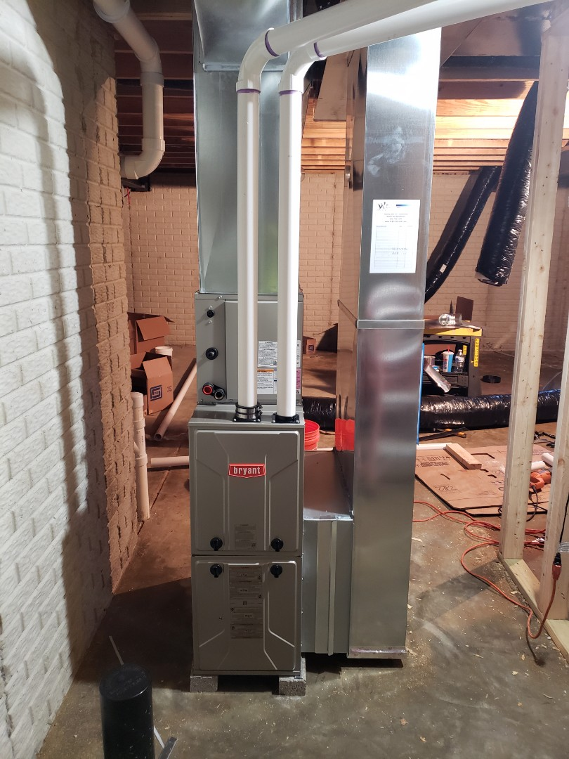 Bryant furnace installation in a new construction Fischer home near Delaware.