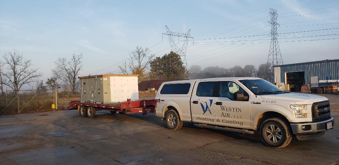 Delaware, OH - Installing 15 Ton Trane package unit in Delaware