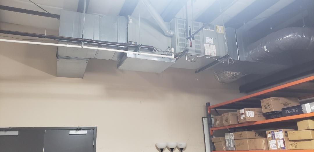 Horizontal Trane furnace installation.