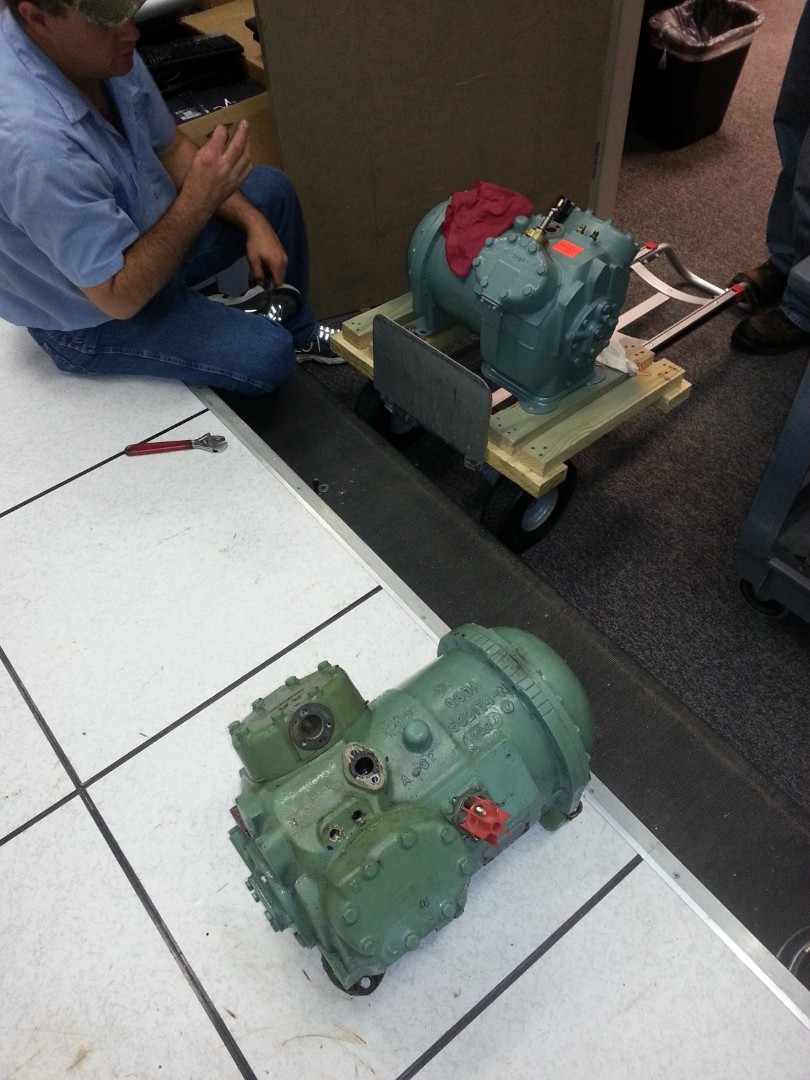 Compressor replacement on a data center air conditioner.