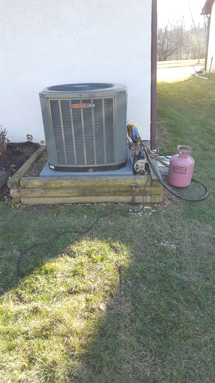 Grove City, OH - Installing new Trane furnace and A/C that was purchased from our Westin Air booth at the home and garden show